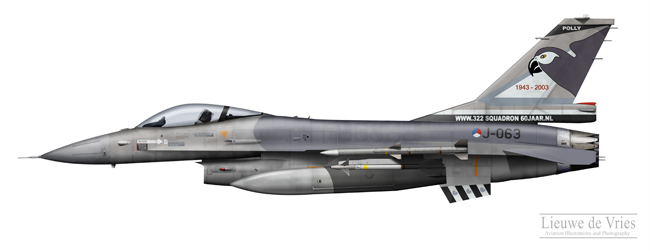 F-16AM J-063 60 years 322 Squadron