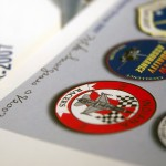 Close up of a logo on a print design of the 181st FW Indiana ANG