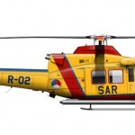 Illustration of a AB-412SP SAR helicopter drawn for 303rd Sqn RNLAF