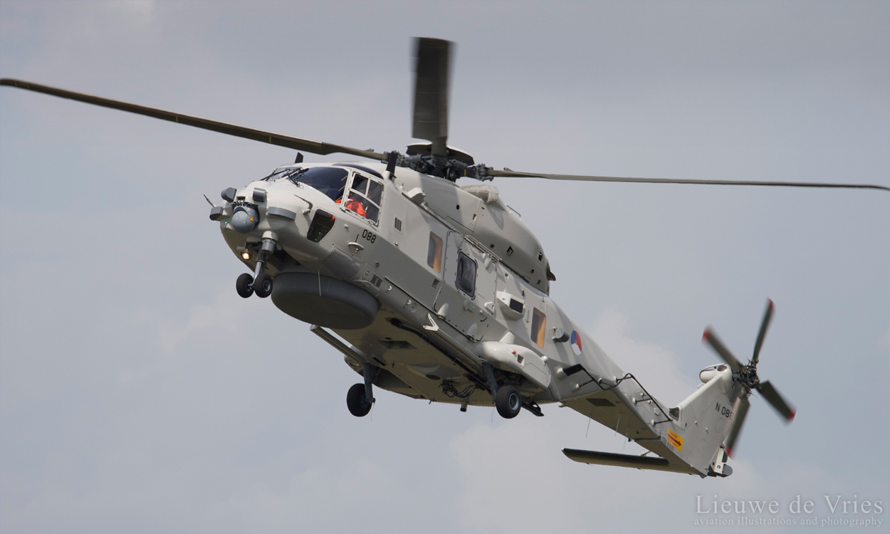 A NH-90 from the Defence Helicopter Command flies a display at a airshow.  Image copyright Lieuwe de Vries - 2014