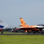 "RNLAF Single Ship Demo ""Orange Lion"" rolling out after landing with its signature drag chute in the Dutch national colors. The bright orange jet has since been repainted into a normal tactical paintscheme."